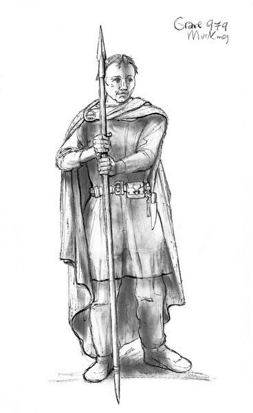 Mucking, Essex. Reconstruction drawing by Judith Dobie (English Heritage Graphics Team) showing a male wearing a cloak pinned by a brooch at shoulder height. Grave 979. Anglo Saxon