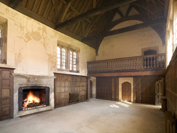 APETHORPE HALL, Northamptonshire. Interior view. Great Hall from the south west