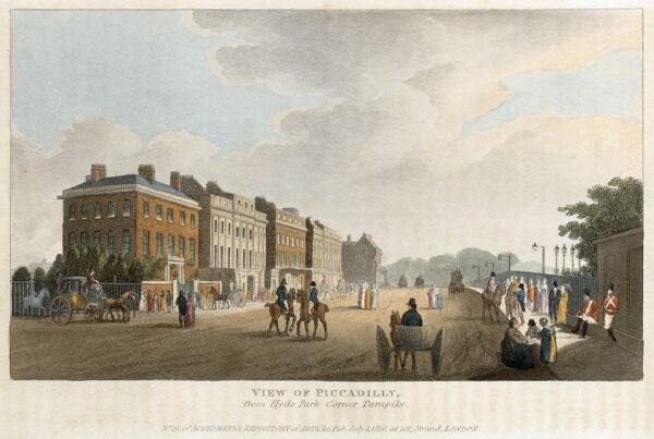 "APSLEY HOUSE, Piccadilly, Hyde Park Corner, London. ""View of Piccadilly from Hyde Park Corner Turnpike"" dated 1810. No 19 of Ackermann's Repository of Arts. This view shows the original red brick house of 1771-8, designed by Robert Adam"