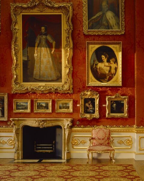 APSLEY HOUSE, London. Interior detail of the North wall and fireplace in the Waterloo Gallery