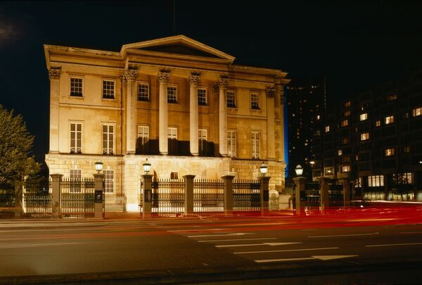 APSLEY HOUSE, Hyde Park Corner, London. Exterior view from the South, floodlit at night