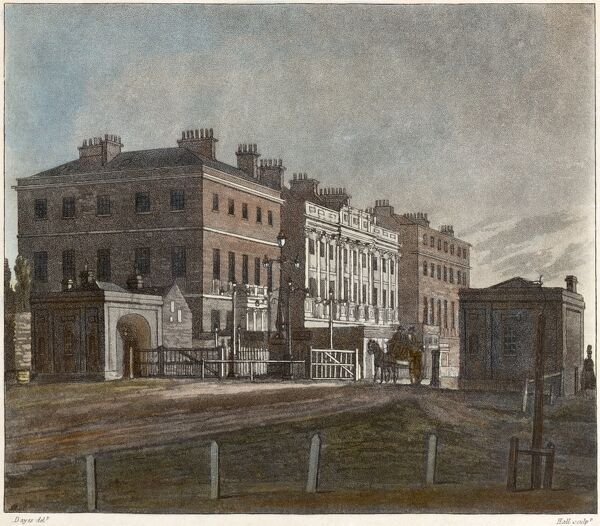 APSLEY HOUSE, Piccadilly, Hyde Park Corner, Westminster, London. Coloured engraving dated 1810 shows the original red-brick house by Robert Adam and the Hyde Park Corner tollgate. From the Mayson Beeton Collection