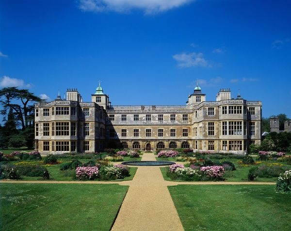 AUDLEY END HOUSE AND GARDENS, Saffron Walden, Essex. View of the East front and the parterre flower garden