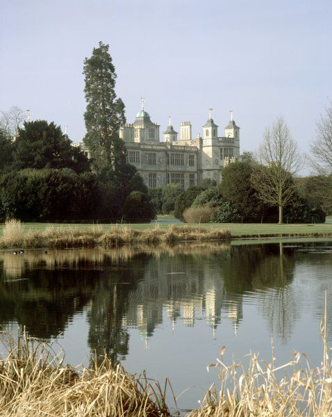 AUDLEY END HOUSE, Saffron Walden, Essex. View of the house from across Place Pond
