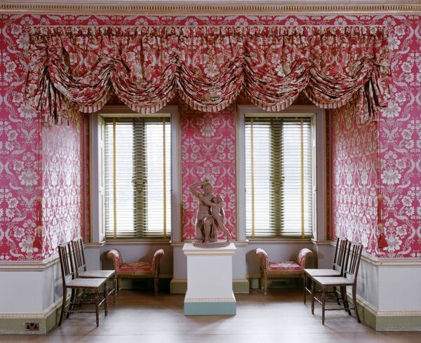 AUDLEY END HOUSE, Saffron Walden, Essex. Interior view of south bay window in the Great Drawing room