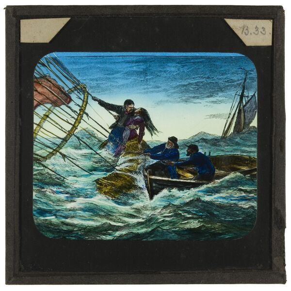 Tales of balloon flight. A hand-coloured engraving showing a maritime rescue that took place on 1st September 1874