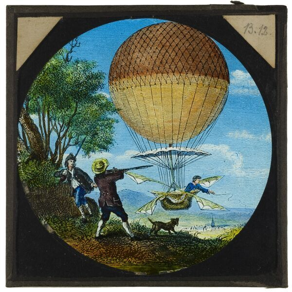 Tales of balloon flight. A hand-coloured engraving of two men shooting at Jean-Pierre Blanchard's 'Vaisseau Volant' as it passes over France in 1784