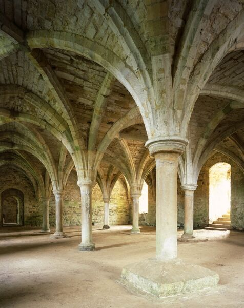BATTLE ABBEY, East Sussex. Interior view. Vaulted north chamber of the East Range which was perhaps the Monks Common Room