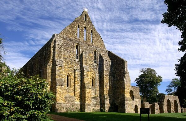 BATTLE ABBEY, East Sussex. The south end of the Dormitory Range. Latrine arches to the right