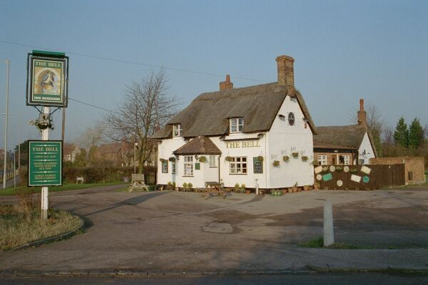 The Bell. Timber-framed public house in Bedfordshire. IoE 36696