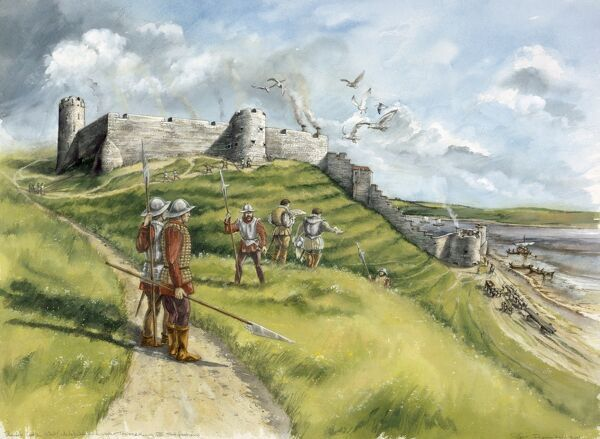 BERWICK CASTLE, Berwick-upon-Tweed, Northumberland. Reconstruction drawing of the West (white) wall and tower and Henry VIII fortifications by Peter Dunn (English Heritage Graphics Team)