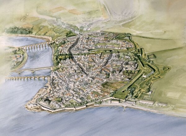BERWICK-UPON-TWEED, Northumberland. 1999 aerial reconstruction painting of Berwick upon Tweed town by Peter Dunn (English Heritage Graphics Team)