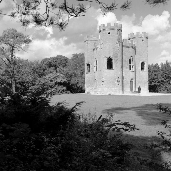 BLAISE CASTLE, Henbury, Bristol. This folly castle was built by Thomas Farr in 1766 on the top of Castle Hill. It was originally used as a summer house by the Harford family who owned the estate. The castle stands inside an Iron Age hillfort