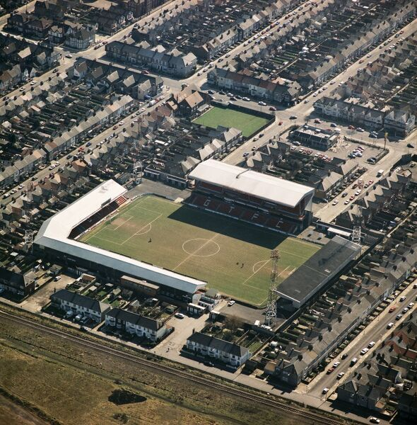 BLUNDELL PARK, Grimsby. Home of Grimsby Town Football Club - The Mariners. Photographed in April 1996. Aerofilms Collection (see Links)