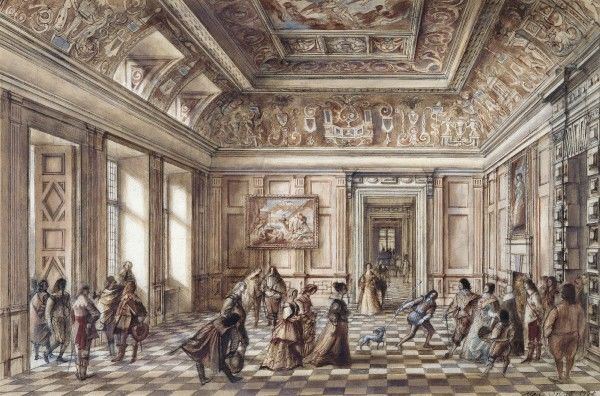 BOLSOVER CASTLE, Derbyshire. Reconstruction drawing showing the entrance hall interior by Alan Sorrell
