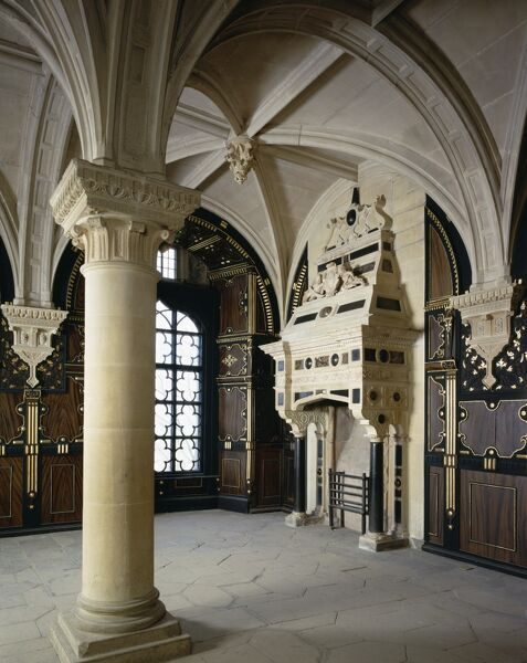 BOLSOVER CASTLE, Derbyshire. Interior view of the Pillar Parlour