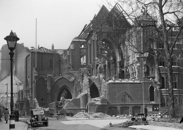 Camden, London. A view of the bombed remains of the church of St John the Evangelist in Red Lion Square. It was consecrated in 1878 but was damaged by the blitz in 1941 and was later demolished. Photographed by Herbert Felton