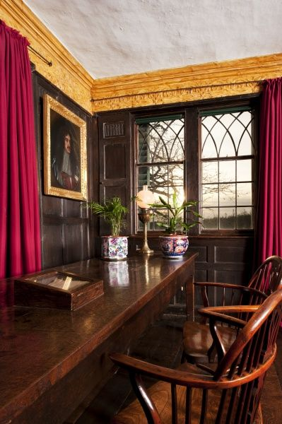 BOSCOBEL HOUSE, Staffordshire. Interior view. General view of the Parlour, showing the portrait of Charles II
