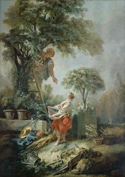 "KENWOOD HOUSE, THE IVEAGH BEQUEST, London. The Cherry Gatherers, 1768, also known as ""Landscape With Figures Gathering Cherries"" by Francois Boucher (1703-1770). Oil on Canvas 67 x 49 in. (170.2 x 124.5 cm). 88028823"