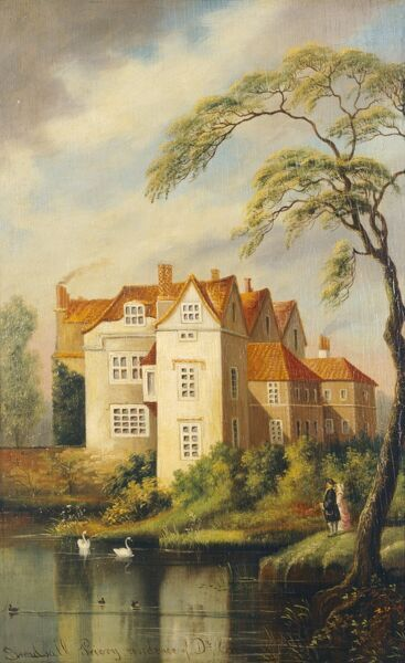 "DOWN HOUSE, Kent. ""Breadsall Priory Residence of Dr Erasmus Darwin"". Grandfather of Charles Darwin. Oil painting by unknown artist"