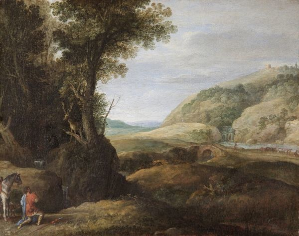 "APSLEY HOUSE, London. ""Landscape with St Hubert and the Stag"" by Paul BRIL (1554-1626). WM 1623-1948. Brill"