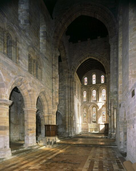 BRINKBURN PRIORY, Northumberland. Interior view of the church looking towards the stained glass window at the East end