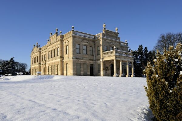 BRODSWORTH HALL, South Yorkshire. View from the south east showing the snow at Brodsworth Hall