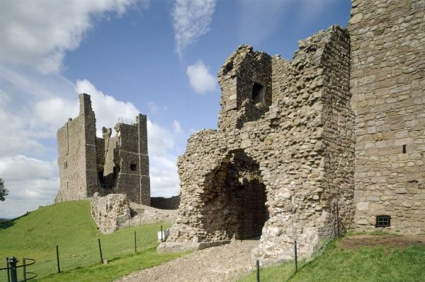 BROUGH CASTLE, Cumbria. The gatehouse with the c.1200 keep beyond
