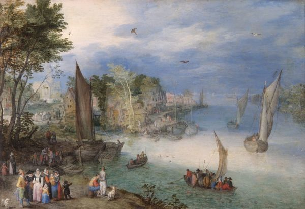 APSLEY HOUSE, London. River Scene with Boats and Figures by Jan BRUEGHEL (1568-1621). Spanish Royal Collection. Captured by the Duke of Wellington at Vitoria, 1813. WM 1574-1948