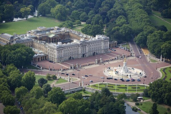 BUCKINGHAM PALACE, London. Aerial view