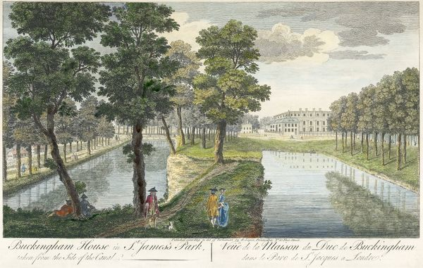 "BUCKINGHAM PALACE, Buckingham Palace Road, City of Westminster, London. ""Buckingham House in St James Park"". Line coloured engraving dated 1750. From the Mayson Beeton Collection"