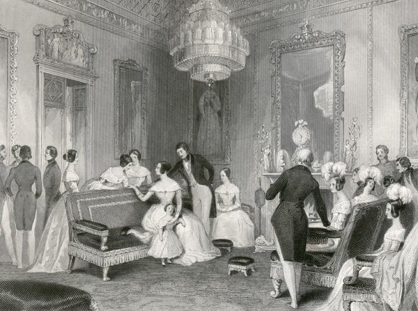 BUCKINGHAM PALACE, Buckingham Palace Road, City of Westminster, London. Interior of the Yellow Drawing Room. Engraving dated 1840. From the Mayson Beeton Collection