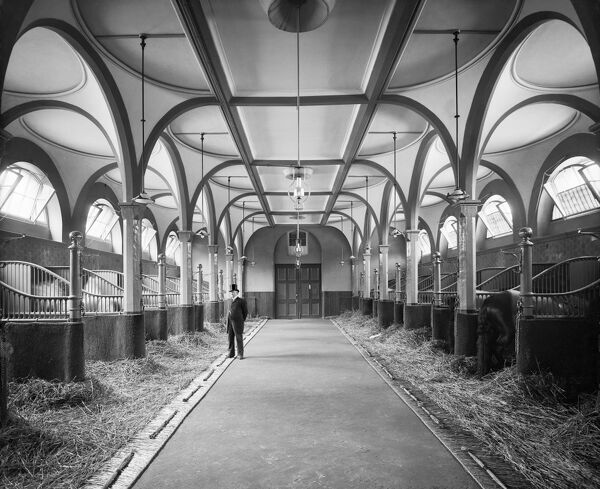 BUCKINGHAM PALACE STABLES, London. Interior view of the royal stables with a figure in a hat. Photographed by Bedford Lemere for Musgrave and Co in May 1905