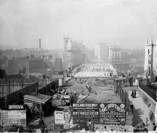 HOLBORN VIADUCT, London.The construction of Holborn Viaduct, looking west. It connected Holborn Street with Newgate Street and was completed in 1869. The hoarding in the foreground advertises the newly-opened St Pancras Station, which opened in 1868