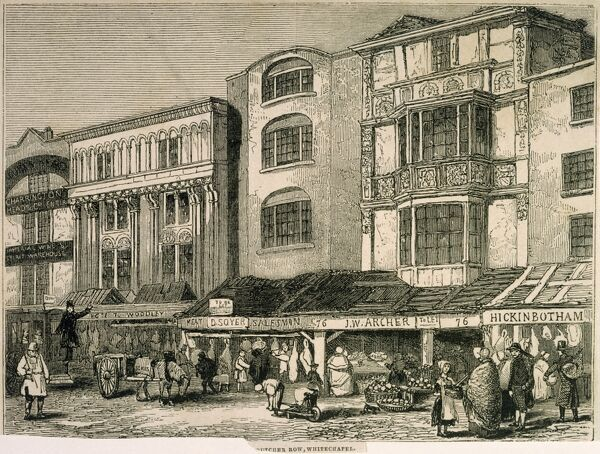 "MAYSON BEETON COLLECTION. Engraving ""Butcher Row, Whitechapel"" London. c. 1850 by ARCHER"