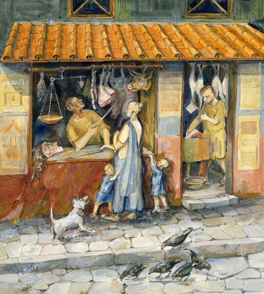 """At the Butcher's Shop"". Reconstruction drawing by Judith Dobie (English Heritage Graphics Team). Roman period"