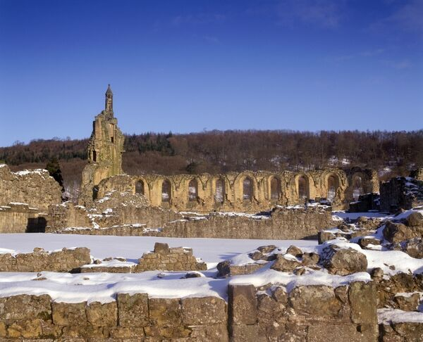 BYLAND ABBEY, North Yorkshire. View northwards towards the abbey ruins in the snow
