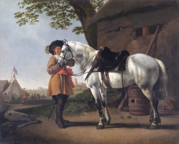 "APSLEY HOUSE, London. ""A Cavalier with a Grey Horse"" by Abraham Van CALRAET (1642-1722). WM 1490-1948"