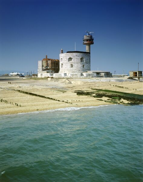 CALSHOT CASTLE, Hampshire. View from the North-East. This artillery fort, built by Henry VIII to defend the sea passage to Southampton, was recently used as a Navy and RAF base