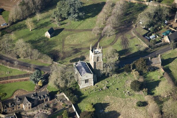 Church of St Mary, Canons Ashby, Northamptonshire. Aerial view. SP577505