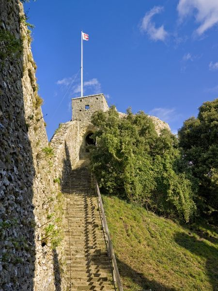 CARISBROOKE CASTLE, Isle of Wight. View up the stairs to the keep with flag flying