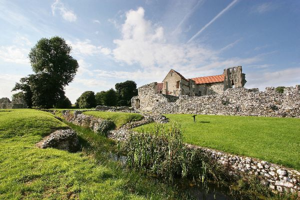 CASTLE ACRE PRIORY, Norfolk. The main drain with ruins beyond