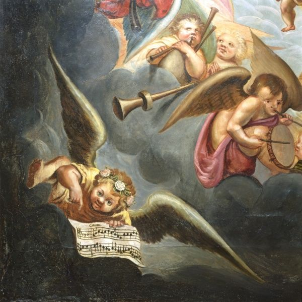 BOLSOVER CASTLE, Castle Street, Bolsover, Derbyshire. The Heaven Room. Mural detail of the painted ceiling showing a cherub with sheet music