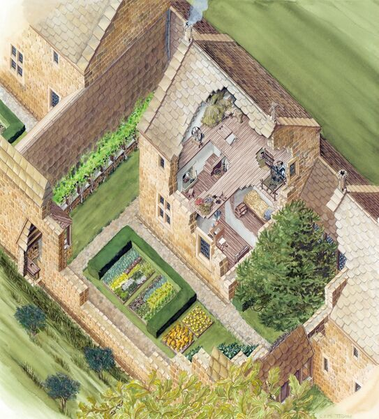 MOUNT GRACE PRIORY, North Yorkshire. Reconstruction drawing, by Claire Thorne, showing a cut-away view of Cell 8 and its garden at Mount Grace Priory, as it may have appeared before the priory's dissolution in 1539, looking down through the roof