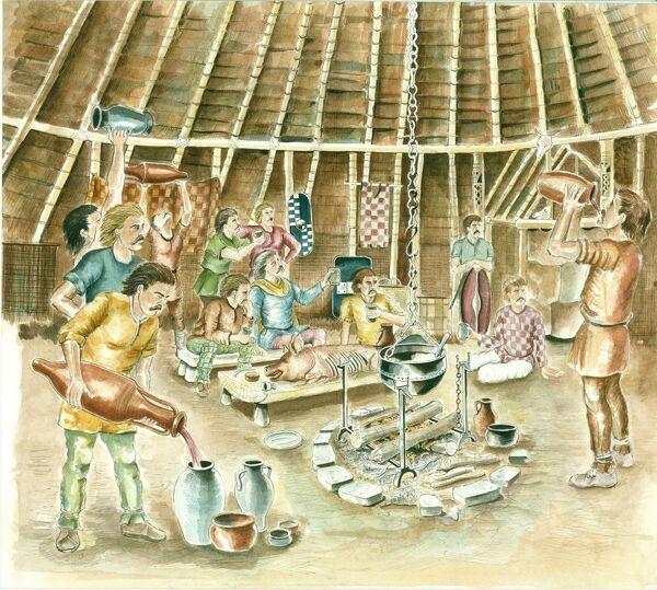 Reconstruction drawing of a Celtic feast in full flight in Iron Age Britain, by Chris Evans (English Heritage Graphics Team)