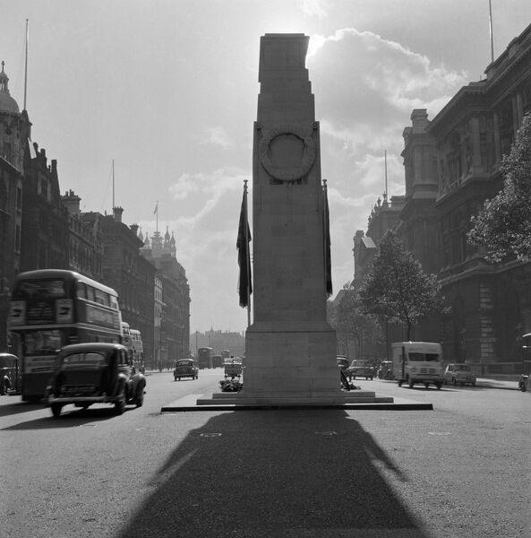 THE CENOTAPH, looking south along Parliament Street, Whitehall, London. Photographed by John Gay. Date range: 18th September 1959 - 8th October 1959