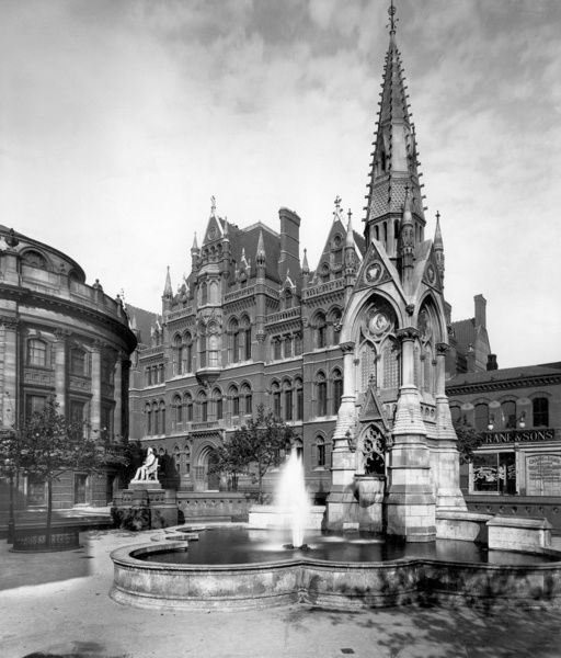 CHAMBERLAIN SQUARE, Birmingham, West Midlands. This civic fountain was erected in 1880 by public subscription in gratitude for Joseph Chamberlain's time as mayor (1873-6). The architect was John Chamberlain, withs Barfield of Leicester, sculptor