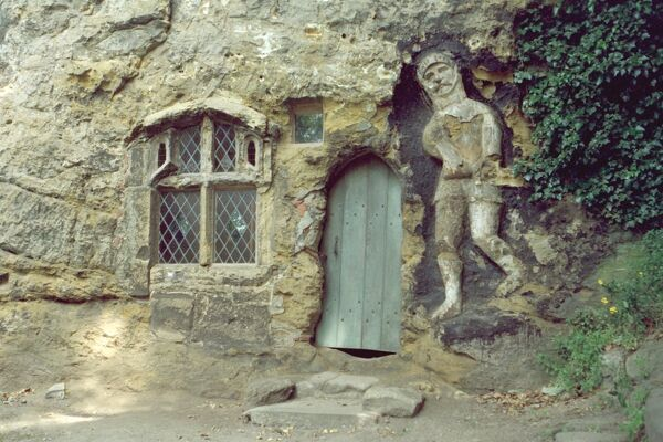 Carved out of cliff face. Early C15 with late C17 and early C18 alterations. Knaresborough, North Yorkshire. IoE 330697