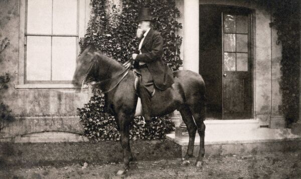 DOWN HOUSE, Downe, Kent. Photograph of Charles Darwin on horseback