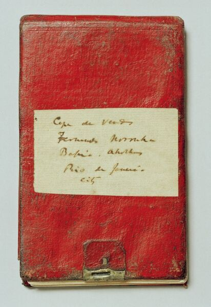 "DOWN HOUSE, Kent. Front cover of one of Charles Darwin's notebooks from the "" Beagle "" voyage"